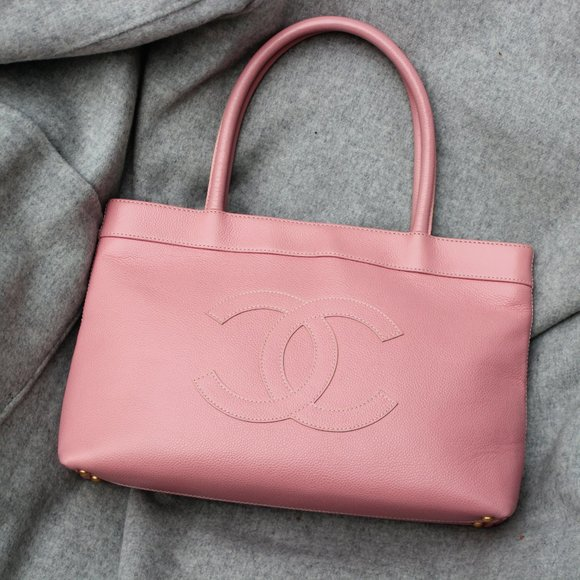 Chanel Caviar Soft Pink Leather CC Tote Bag